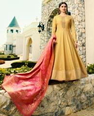 Ruhame Gorgeous Yellow colour Anarkali Style Semi-stitched Suit