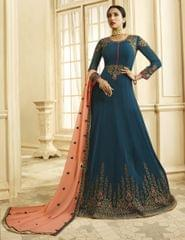 Ruhame Lovely Navy Blue Color Anarkali Style Suit