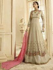 Ruhame Stylish Light Beige Color Anarkali Style Suit