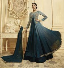 Ruhame Fashionable Sky Blue & Dark Blue Color Anarkali Style Suit