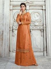 Ruhame Lovely Bronze color Semi-stitched Plazzo Style Salwar Kameez