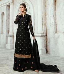 Ruhame Stylish Black color Semi-stitched Plazzo Style Salwar Kameez
