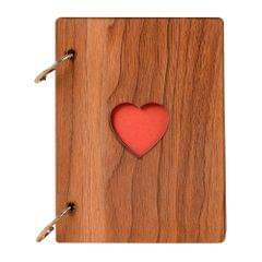 DIY Photo Album Wood Cover Anniversary Scrapbook 6 inches