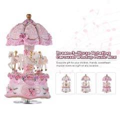 Luxury Dream 3-Horse Rotating Carousel Merry-go-round Windup