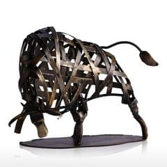 TOOARTS Metal Sculpture Iron Braided Cattle Home Furnishing