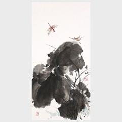 Lotus and Dragonfly Traditional Chinese Painting Artwork for