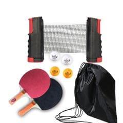 Portable Retractable Extendable Ping-Pong Mesh Rack Bat Set - red & black