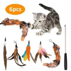 Cat Pet Feather Wand Cat Interactive Retractable Feather