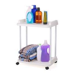 2-Tier Rolling Storage Cart Mobile Shelving Unit Organizer