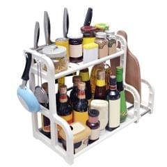 2-Tier Spice Rack Condiment Organizer with Utensil Holder &
