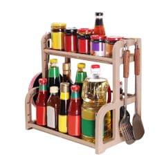 2-Tier Storage Rack Countertop Standing Shelf with Hook