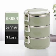 304 Stainless Steel Lunch Box Round Bowl 700ml X3 Thermal - 3