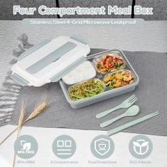 304 Stainless Steel Lunch Box 4-Grid Microwave Leakproof - 4 Grid