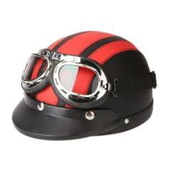 Motorcycle Scooter Open Face Half Leather Helmet with Visor