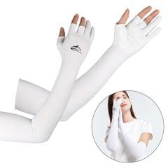 Cooling Arm Sleeves with Ergonomic Fingers Men Women UV Sun - L