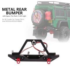 Metal Rear Bumper with Spare Tire Rack 2 LED Light for RC