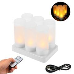 Set of 6 Rechargeable LED Yellow Flickering Flameless - 6-pack