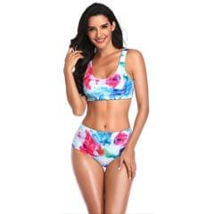 Women's Bikini Set Sleeveless Print High-Waisted Two Piece - S