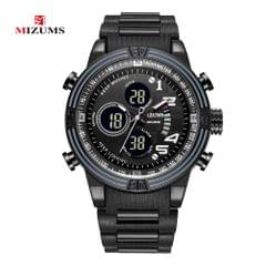 MIZUMS Men Watch Fashion Alloy Case Digital Analog Dual - Black & White