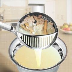Multi-function Dual Purpose Long Handle Stainless Steel Colander  Hot Pot Soup Spoon, Size: 32 x 9cm