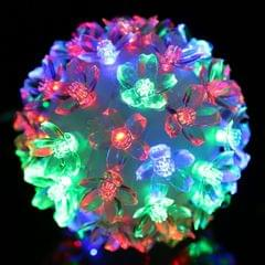 Colorful Changing IP44 Waterproof Peach Blossom Ball LED Decorative Light, 50 LEDs Stage Background Light for Garden / Christmas, Ball Diameter: 10cm, EU Plug, AC 220V