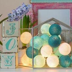 3M 20 Leds Cotton Ball Light String Holiday Wedding Christmas Party Bedroom Fairy Lights Outdoor LED Light Garland Decoration, Power Suupply: EU Plug (Tiffany)