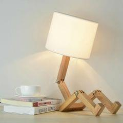 Creative Personality Small Robot Shaped Lighting Fashion Home Bedroom Bedside Wooden Table Lamp
