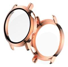 2 in 1  Tempered Glass Screen Protector + Fully Plating PC Case, Size:For Huawei Watch GT2 42mm (Rose Gold)
