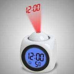 Multi-function LED Projection Alarm Clock Voice Talking Clock, Specification:White + USB cable