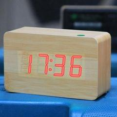 Red Number USB / Battery Wooden Clock with Voice Control (Red)