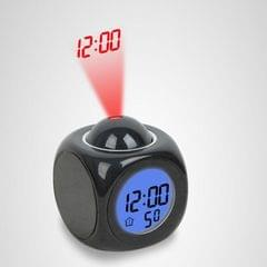 Multi-function LED Projection Alarm Clock Voice Talking Clock, Specification:Black + USB cable