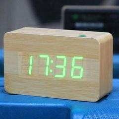 Red Number USB / Battery Wooden Clock with Voice Control (Green)