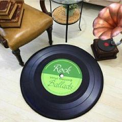 Creative Retro 3D DVR Record Carpet Round CD Floor Mat Home Decor Living Room Kid Bedroom Decoration  Rug, Diameter 160cm (Green)