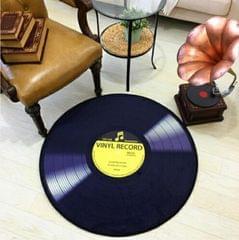 Creative Retro 3D DVR Record Carpet Round CD Floor Mat Home Decor Living Room Kid Bedroom Decoration  Rug, Diameter 120cm (Yellow)