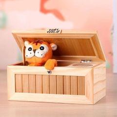 Creative Cute Tiger Funny Present Sound Version Wooden Electronic Useless Box Novel Stress-Reduction Desk Decoration, Size: 19.2*8.5*11cm