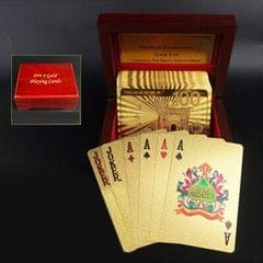 Creative Frosted Golden 100 Euro Back Texture Plastic From Vegas to Macau Playing Cards Texas Poker with Wooden Gift Box (Style1)