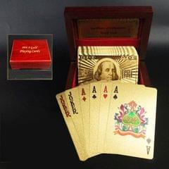 Creative Frosted Golden 100 Euro Back Texture Plastic From Vegas to Macau Playing Cards Texas Poker with Wooden Gift Box (Style2)