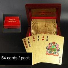 Creative Frosted Golden 100 Euro Back Texture Plastic From Vegas to Macau Playing Cards Texas Poker with Wooden Gift Box (Style4)