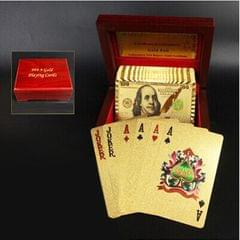 Creative Frosted Golden 100 Euro Back Texture Plastic From Vegas to Macau Playing Cards Texas Poker with Wooden Gift Box (Style9)