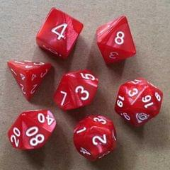 5 Set Creative RPG Game Dice Colorful Multicolor Dice Mixed DND Dice (Red)