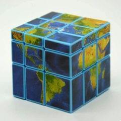 Mirror Block Map Sticker Rubik Cube Puzzle Children's Educational Toys (Navy Blue)