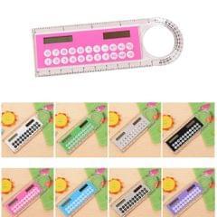 Solar Mini Calculator Magnifier Multifunction 10cm Ultra-thin Ruler Calculadora Office Supplies (Color Random Delivery)