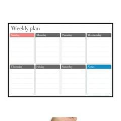 Magnetic Weekly Plan Refrigerator Magnet PET Magnetic Soft Whiteboard, Size: 29.7cm x 42cm (Black)