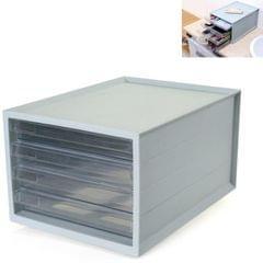 Transparent Drawer Storage Cabinet Stackable Desktop Office File Cabinet, Size: 4 Layer (Blue)