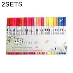 2 Sets 48 Color Double Head Hook Line Pen Color Marker Soft Head Watercolor Pen Art Supplies Children Gift Painting Set