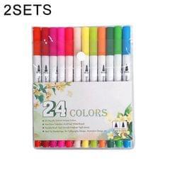 2 Sets 24 Color Double Row Double Head Hook Line Pen Color Marker Soft Head Watercolor Pen Art Supplies Children Gift Painting Set