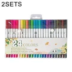2 Sets 24 Color Single Row Double Head Hook Line Pen Color Marker Soft Head Watercolor Pen Art Supplies Children Gift Painting Set