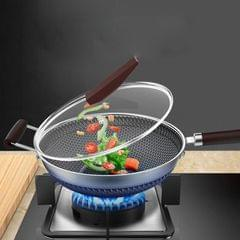 Stainless Steel Antibacterial Non-Stick Pan Household Non-Oily Smoke Wok, Suitable For Induction Cooker / Gas Stove, Style:32CM Stainless Steel Handle With Cover
