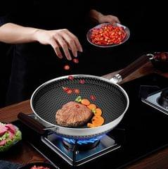 Stainless Steel Antibacterial Non-Stick Pan Household Non-Oily Smoke Wok, Suitable For Induction Cooker / Gas Stove, Style:28 CM Pan