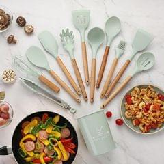 11 PCS / Set Wooden Handle Kitchenware Kitchen Non-stick Pan Cooking Spatula Spoon (Mint Green)